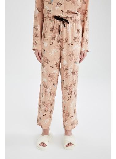DeFacto Relax Fit Çiçek Desenli Pijama Altı Beyaz